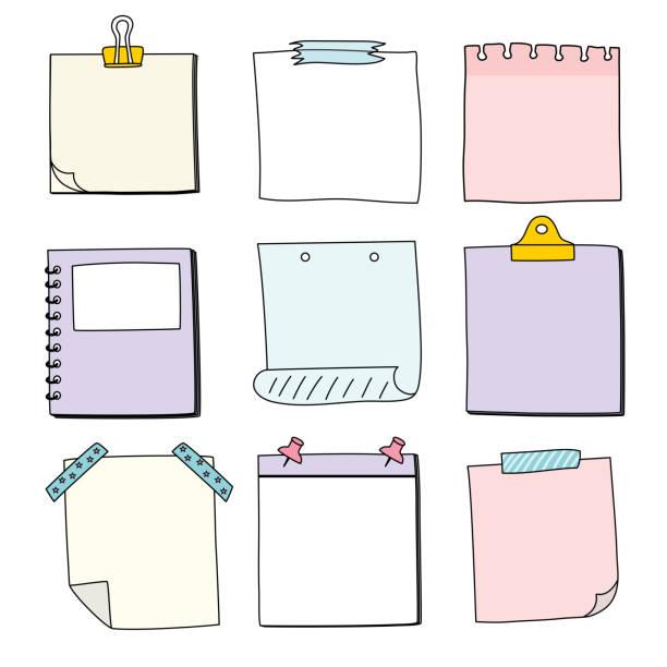 handgezeichnetes notizpapier, nachricht haftnotizen, vektor/illustration - klebezettel stock-grafiken, -clipart, -cartoons und -symbole