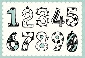 Retro illustration with arabic numbers in hand drawn style and on the grid background. All text and illustration is hand-drawn.