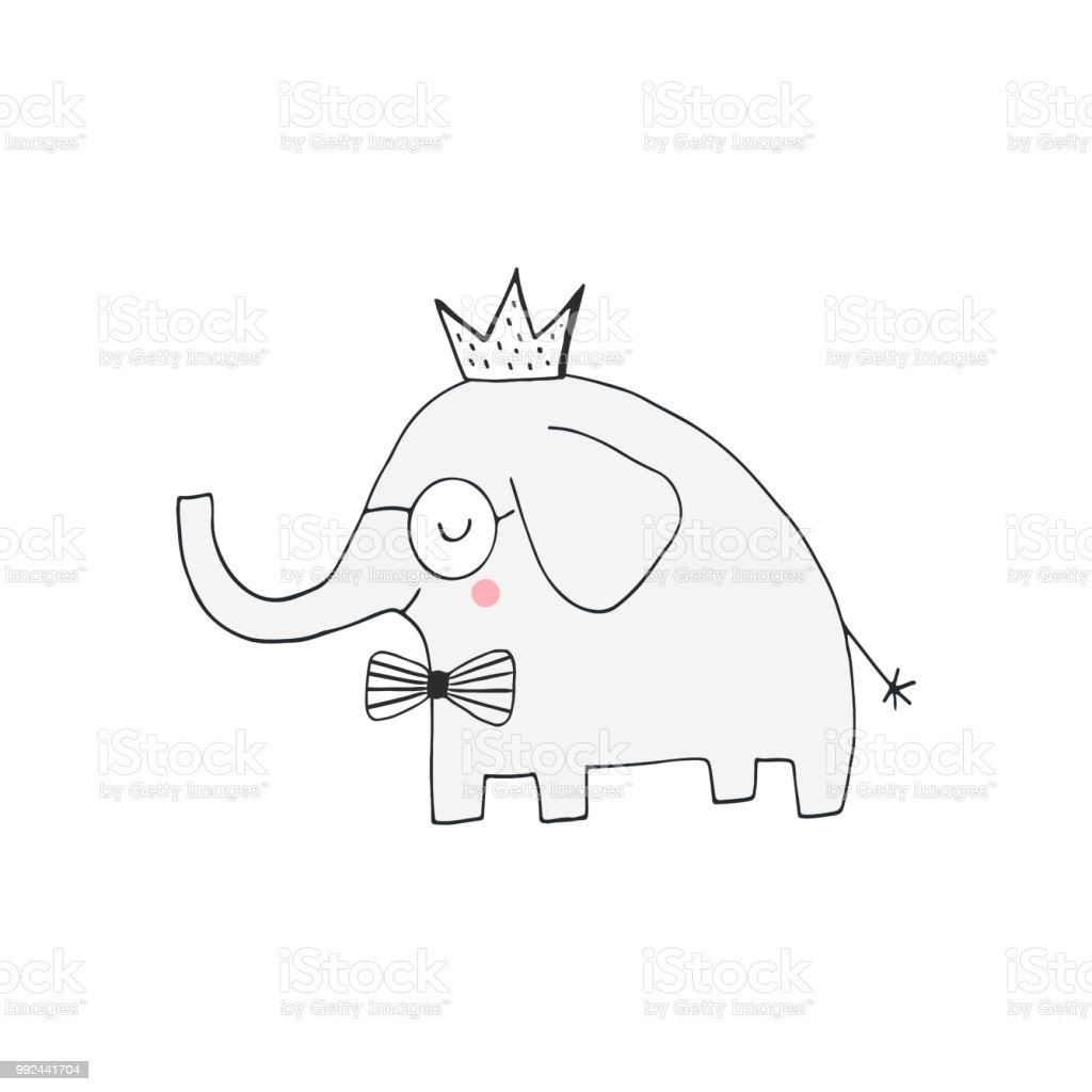 Hand Getekende Kwekerij Verjaardag Poster Met Olifant Koning In