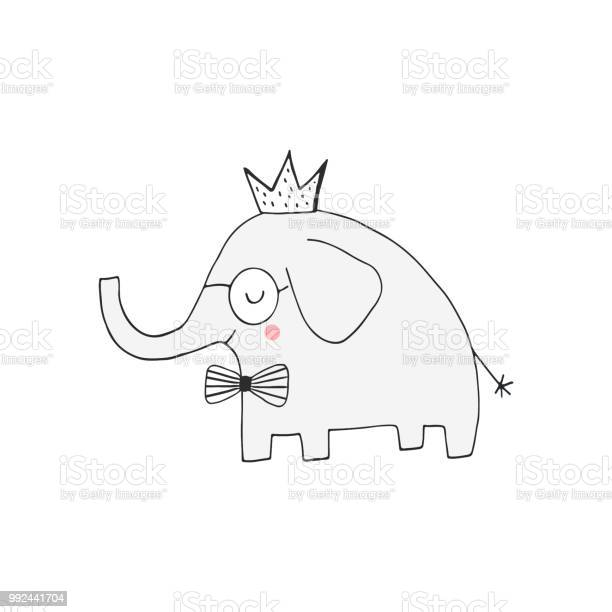 Hand drawn nursery birthday poster with elephant king in scandinavian vector id992441704?b=1&k=6&m=992441704&s=612x612&h=r7rkeagpywukzdh0fxetq xzkdhyiyfpnqcrgmyep0e=