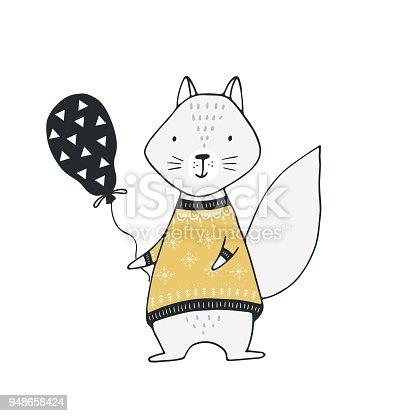 Hand drawn nursery birthday poster with squirrel in scandinavian style. Monochrome kids vector illustration.