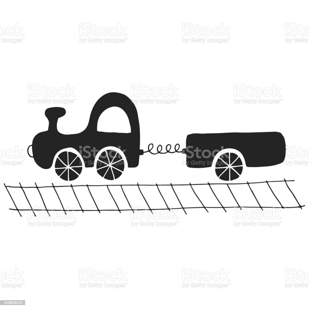 Hand Drawn Nursery Color Poster With Cartoon Car Vector Illustration