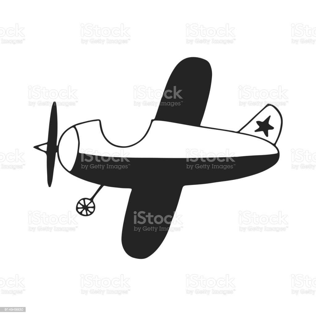Hand Gezeichnet Kinderzimmer Poster Mit Cartoon Flugzeug Farbe Vektor Illustration Lizenzfreies
