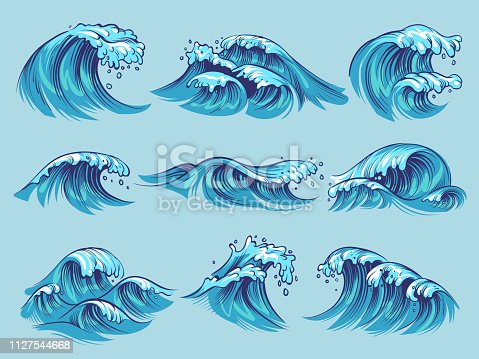 Hand drawn ocean waves. Sketch sea tidal blue waves tide splash hand drawn surfing storm wavy water doodle vector isolated vintage set