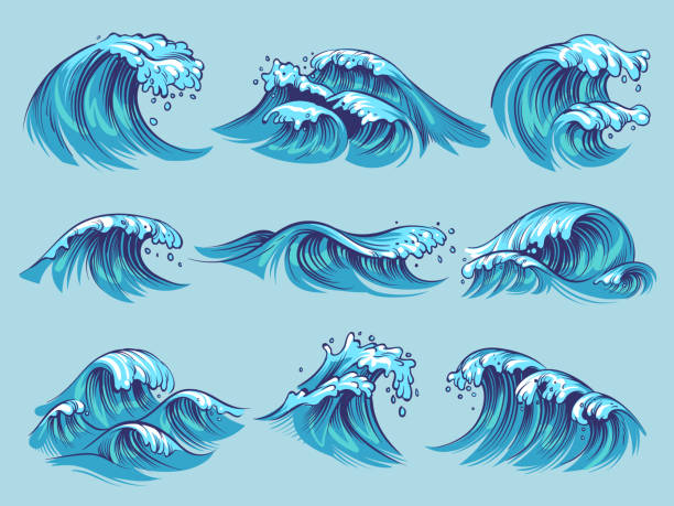 Hand drawn ocean waves. Sketch sea tidal blue waves tide splash hand drawn surfing storm wavy water doodle vintage set Hand drawn ocean waves. Sketch sea tidal blue waves tide splash hand drawn surfing storm wavy water doodle vector isolated vintage set surf stock illustrations