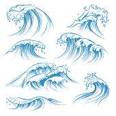 istock Hand drawn ocean waves. Sketch sea waves tide splash. Hand drawn surfing storm wind water doodle vintage elements 1128646207
