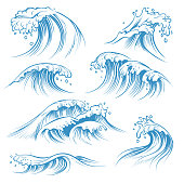 Hand drawn ocean waves. Sketch sea waves tide splash. Hand drawn surfing storm wind water doodle vector isolated vintage elements