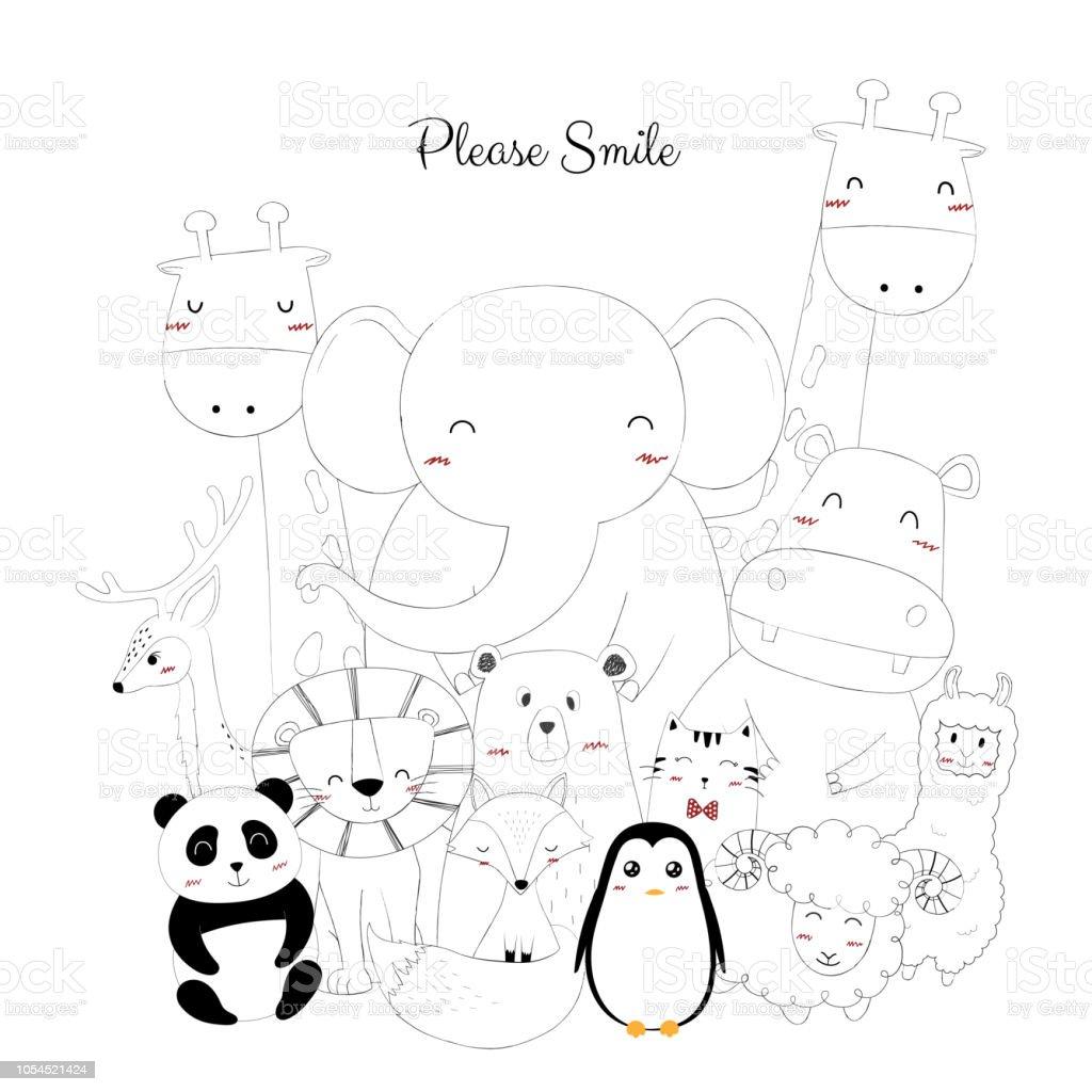かわいい動物の手書き いたずら書きのベクターアート素材や画像を