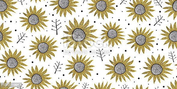 Hand drawn of abstract floral pattern. Seamless abstract floral pattern. Abstract sun flower pattern isolated on white background.