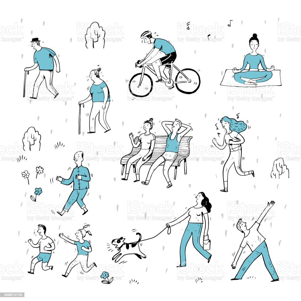 Hand drawn of action people in the park. vector art illustration