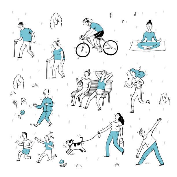 handgezeichnete aktion leute im park. - lustige fahrrad stock-grafiken, -clipart, -cartoons und -symbole
