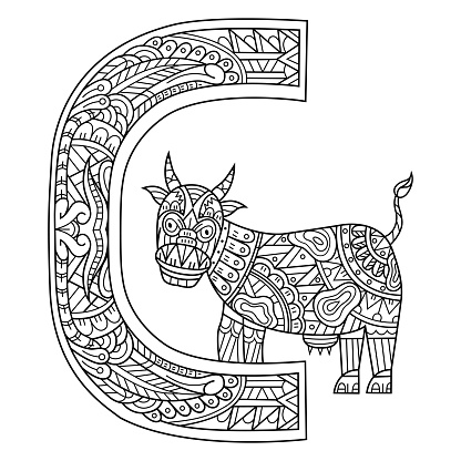 Hand drawn of aphabet letter C for cow