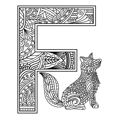 Hand drawn of aphabet letter F for fox
