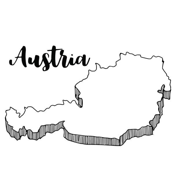 bildbanksillustrationer, clip art samt tecknat material och ikoner med handritad av österrike karta, vektorillustration - salzburg