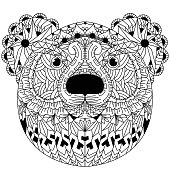 Illustration of Hand drawn of bear head in doodle style