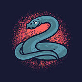 istock Hand drawn of big python with red grunge. Blue python with hand drawn style isolated on dark background 1270377479