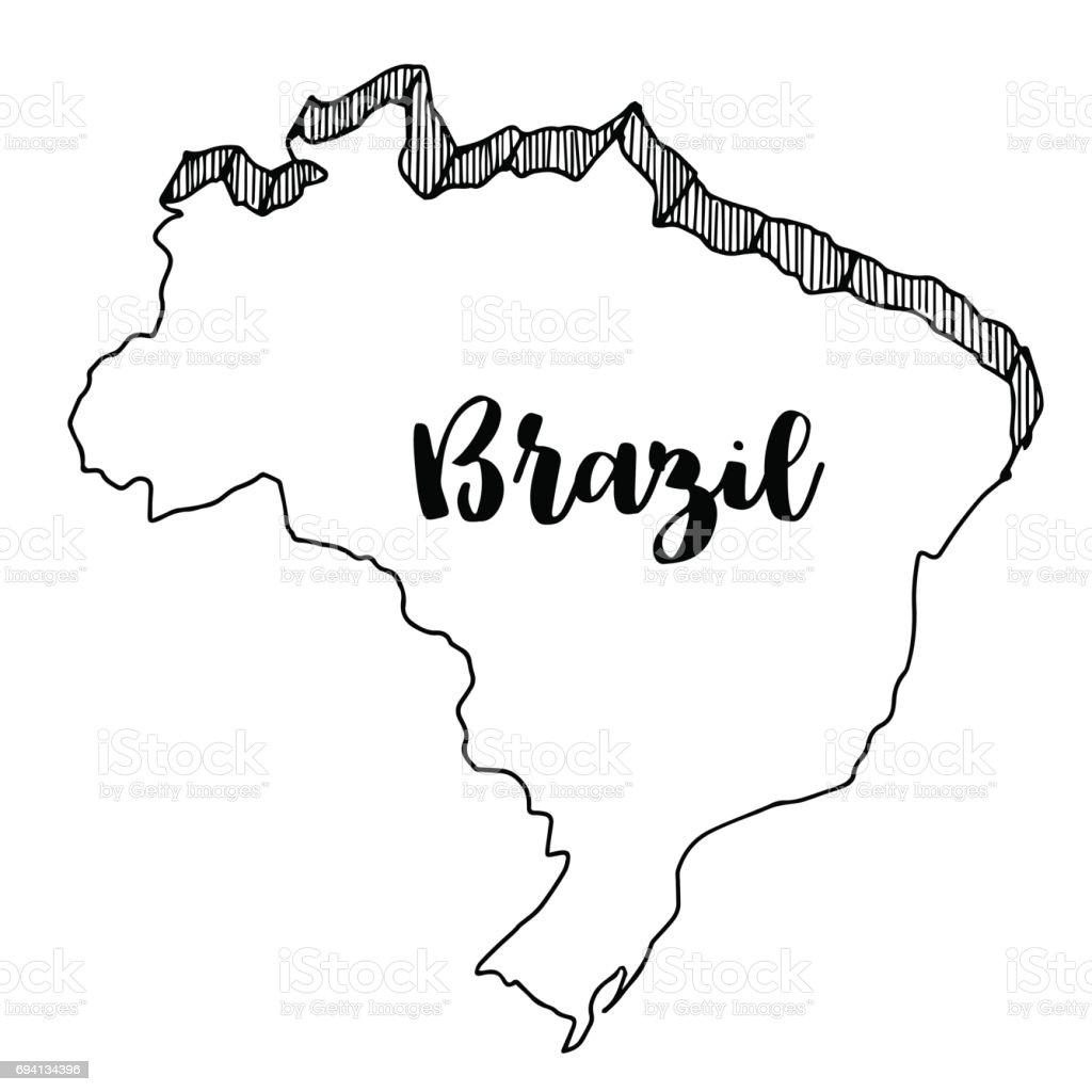 Hand Drawn Of Brazil Map Vector Illustration Stock Vector Art - Brazil map illustration