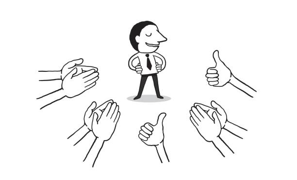 hand drawn of businessman with many Hands clapping ovation and thumps up on white background. vector art illustration