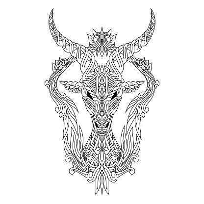 Hand drawn of deer head in  style