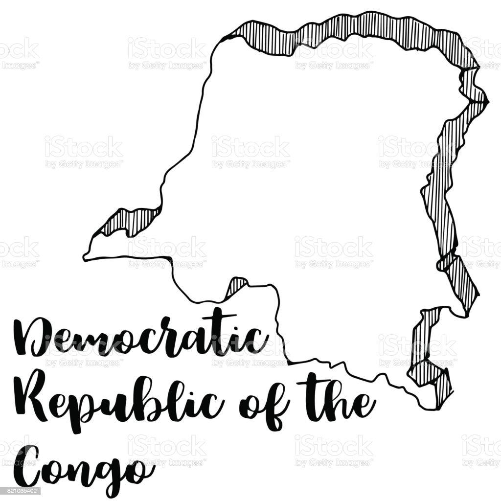 Hand Drawn Of Democratic Republic Of The Congo Map Vector - Dominican republic map vector