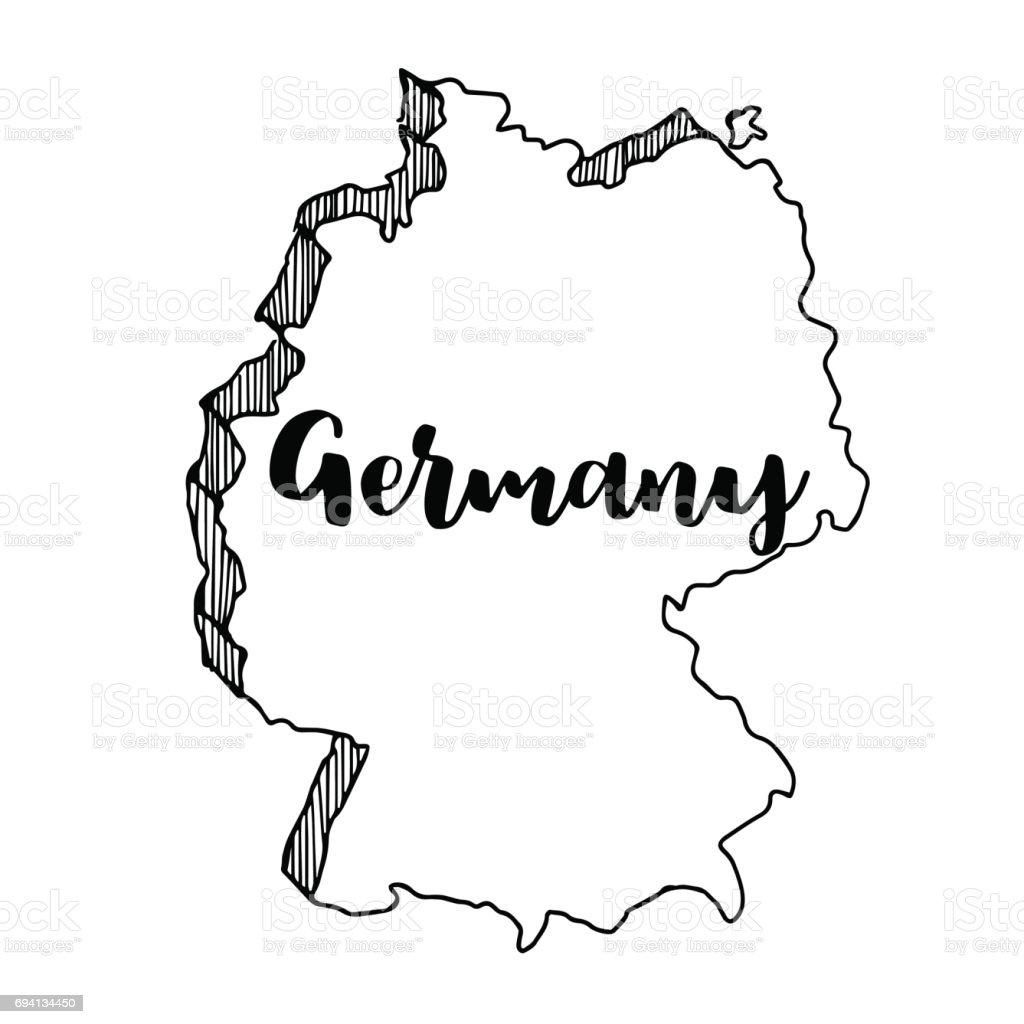 Hand Drawn Of Germany Map Vector Illustration Stock Vector Art - Germany map vector