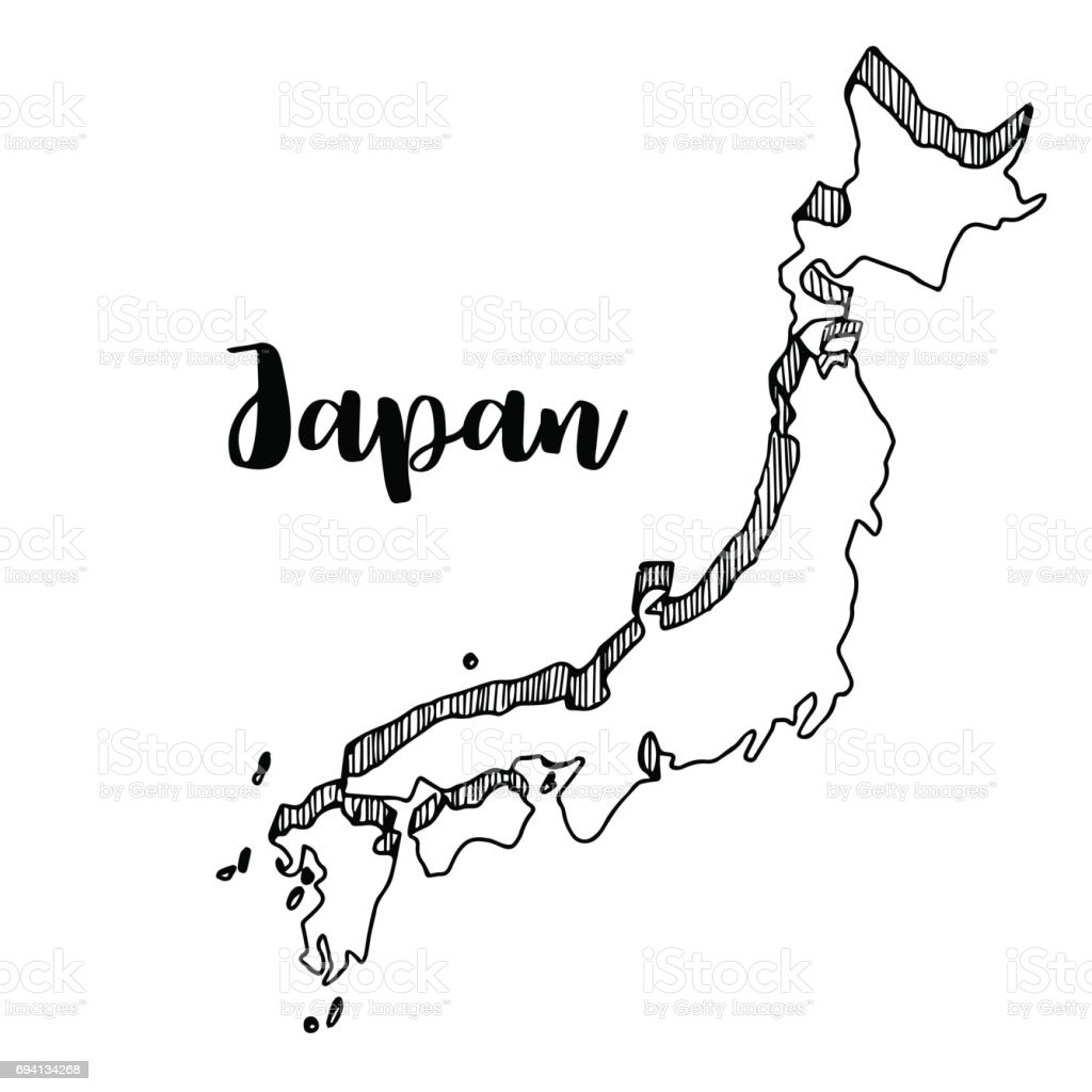 Hand Drawn Of Japan Map Vector Illustration Stock Vector Art - Japan map vector art
