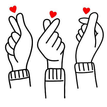 hand drawn of Korean love sign, doodle Korea finger heart .vector illustration