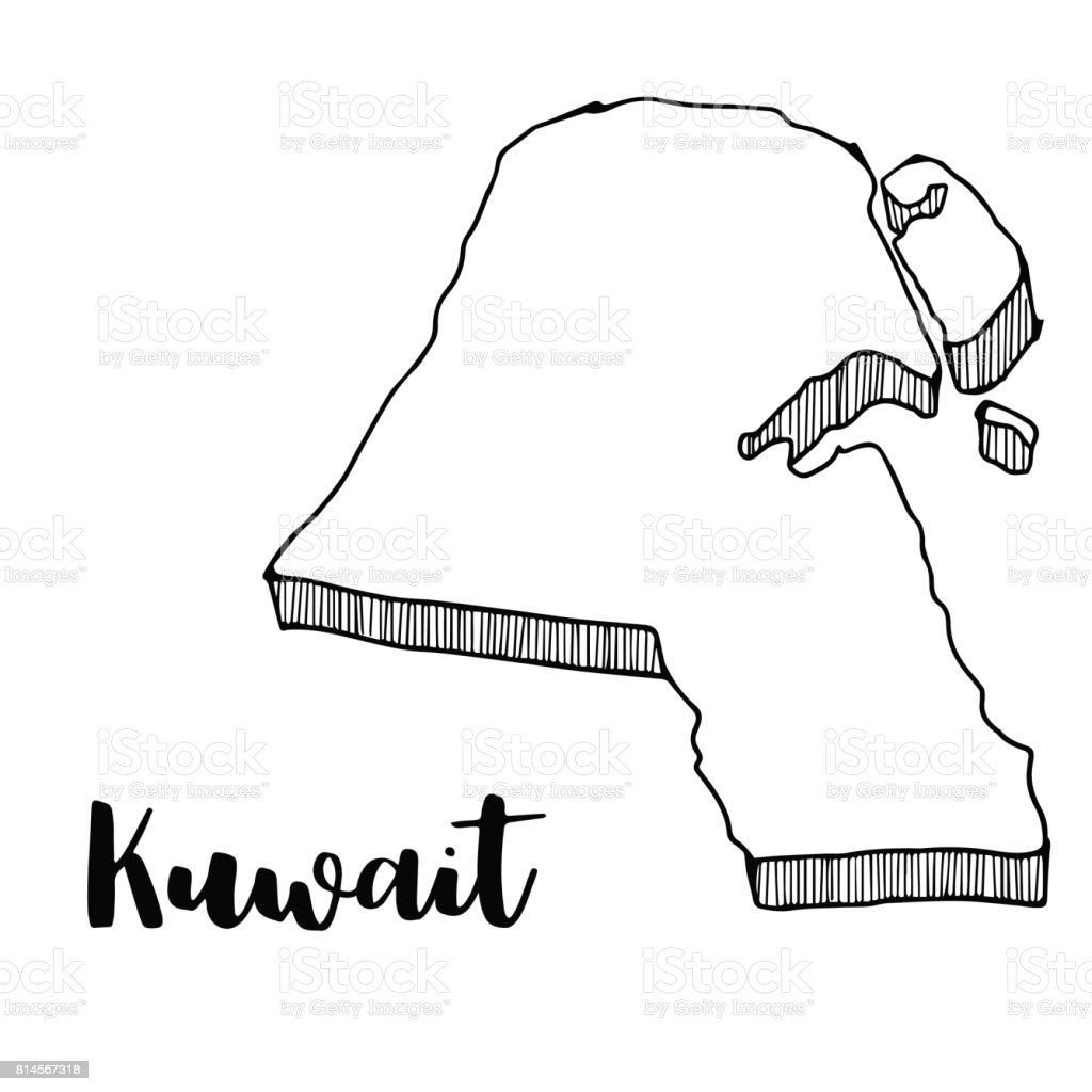 Hand Drawn Of Kuwait Map Vector Illustration Stock Vector Art More