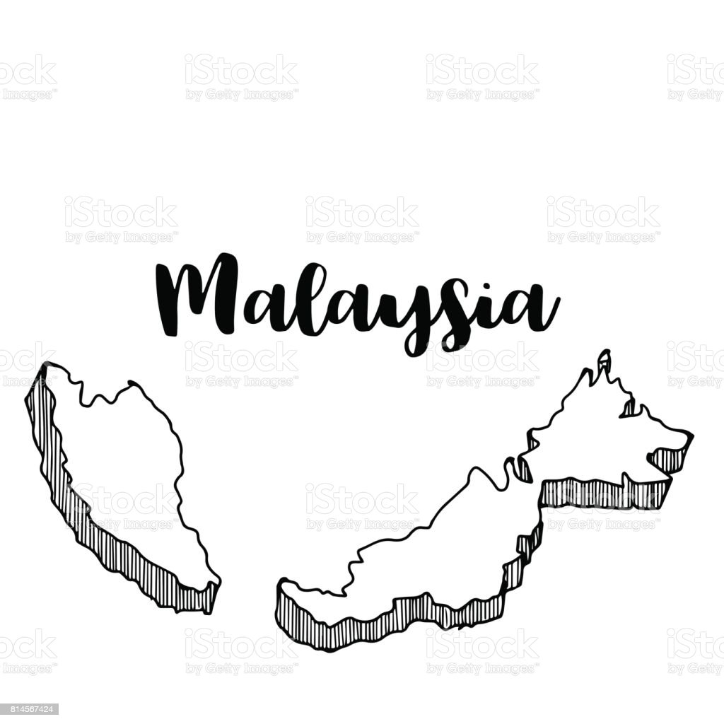 Hand Drawn Of Malaysia Map Vector Illustration stock vector art