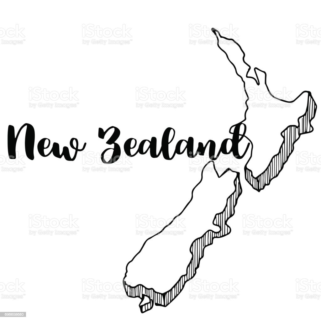 Line Drawing Of New Zealand : Hand drawn of new zealand map vector illustration stock
