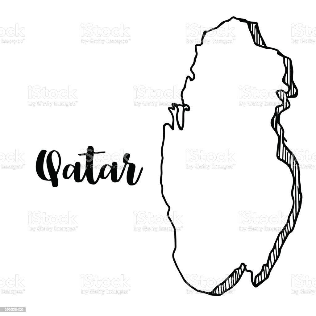 Hand Drawn Of Qatar Map Vector Illustration Royalty Free Stock Art