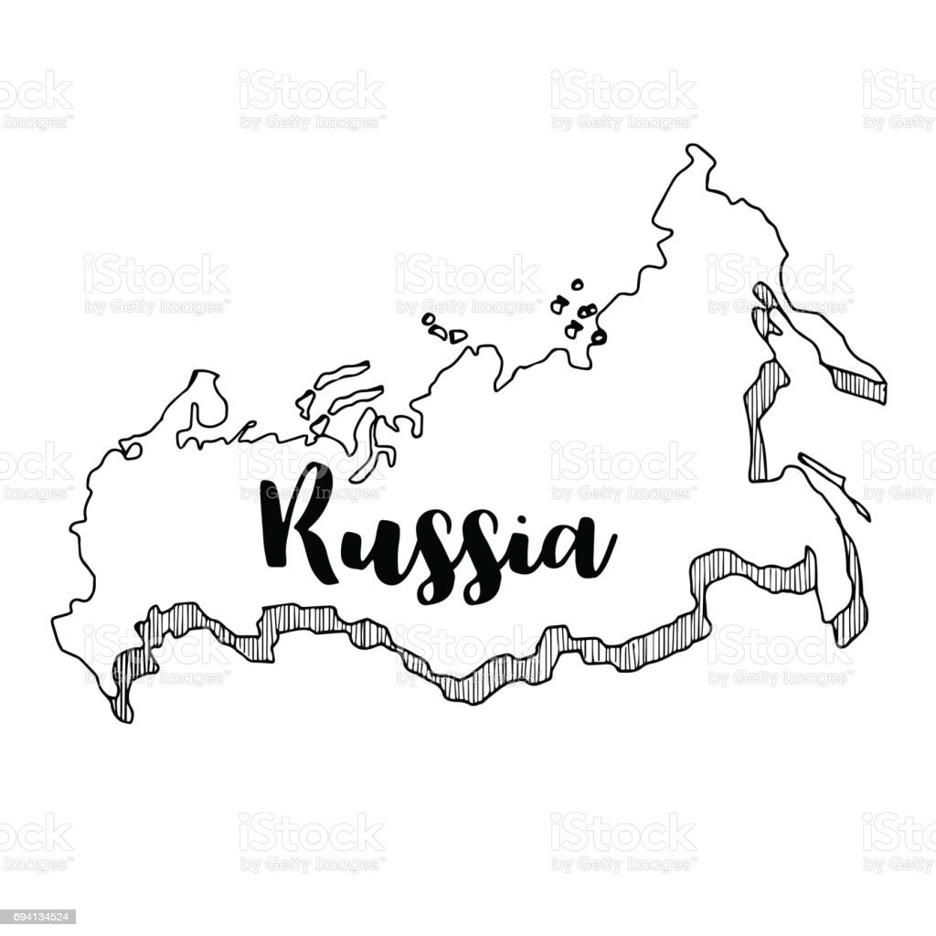 Hand Drawn Of Russia Map Vector Illustration Stock Vector Art & More ...