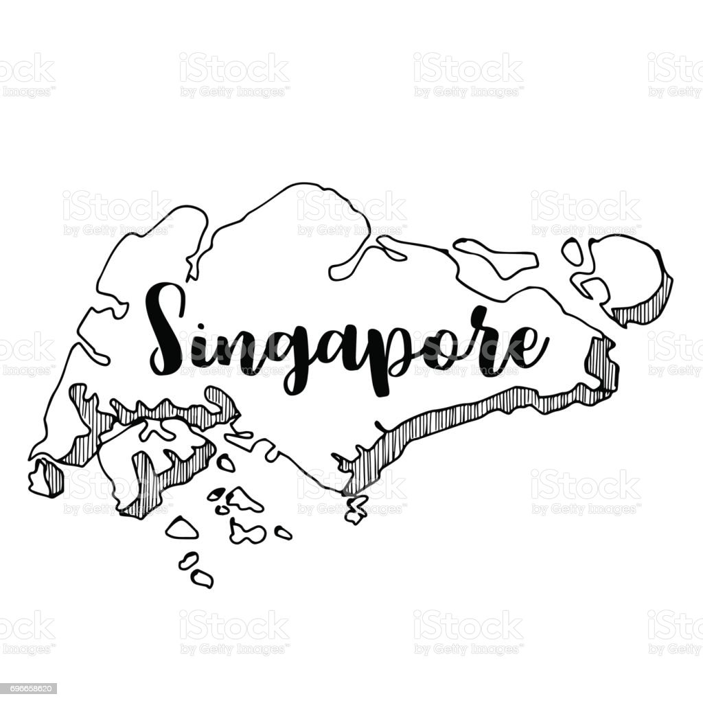 Hand Drawn Of Singapore Map Vector Illustration stock vector art