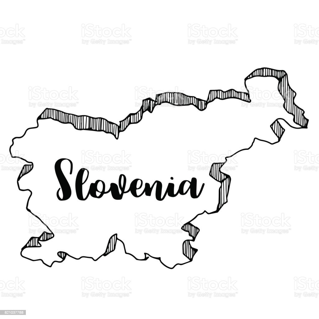 Hand drawn of Slovenia map, vector illustration vector art illustration