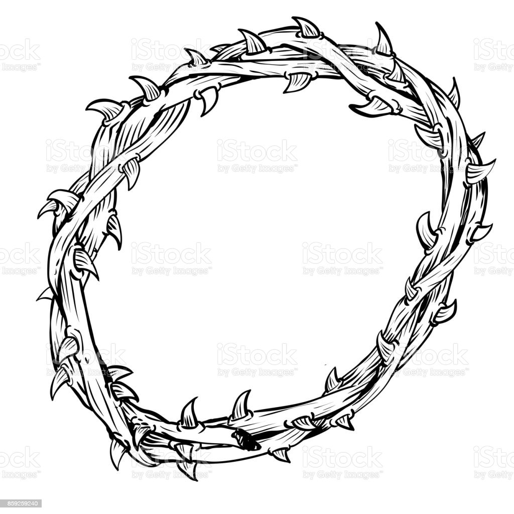 Hand Drawn Of Thorn Crownvector Drawn Stock Illustration