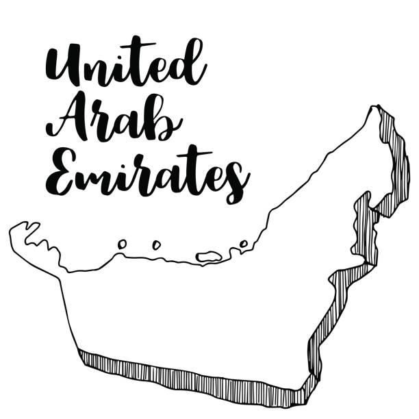 ilustrações, clipart, desenhos animados e ícones de mão desenhada do mapa nos emirados árabes unidos, ilustração vetorial, vetor - mapa do oriente médio