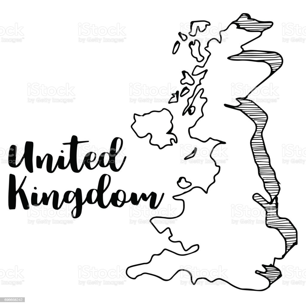 Hand Drawn Of United Kingdom Map Vector Illustration Vector Stock - United kingdom map vector