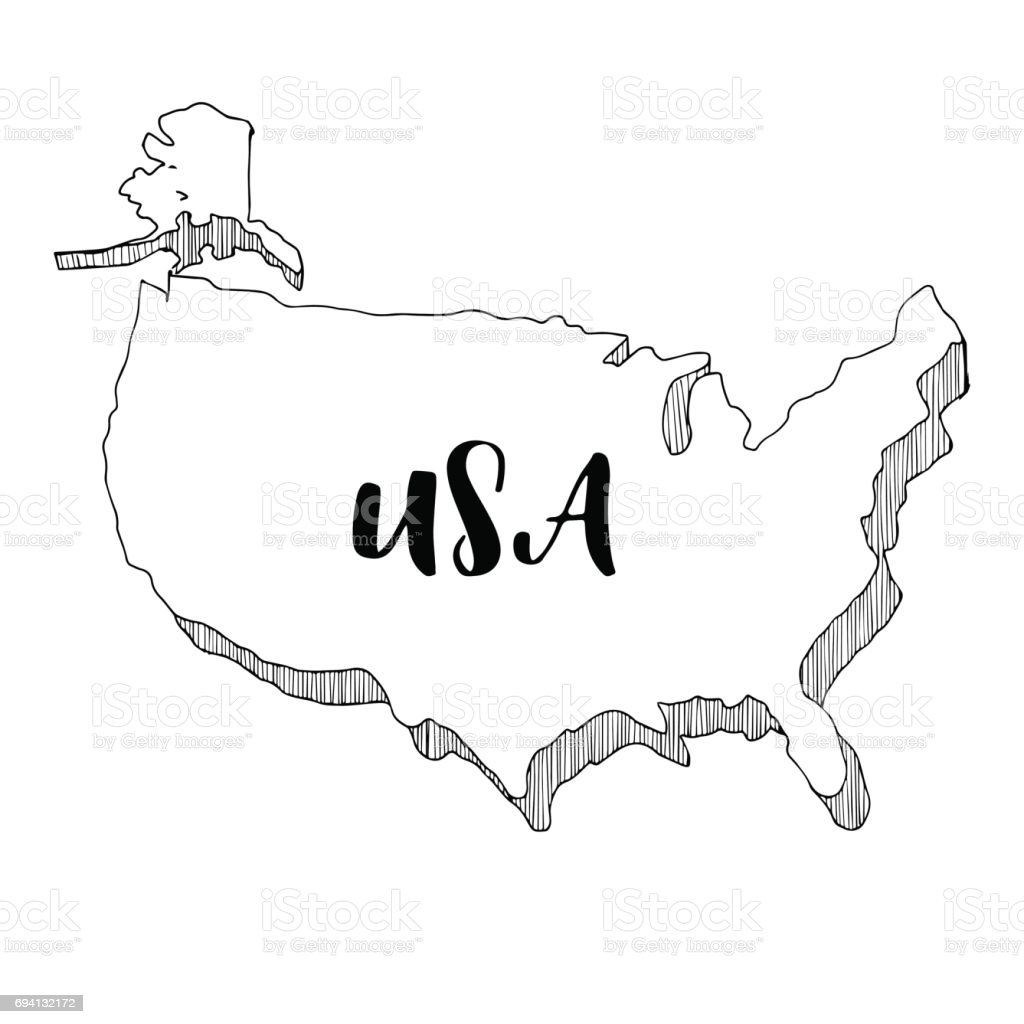 Hand Drawn Of Usa Map Vector Illustration Stock Vector Art & More ...