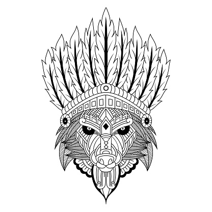 Hand drawn of wolf tribal chief in doodle style