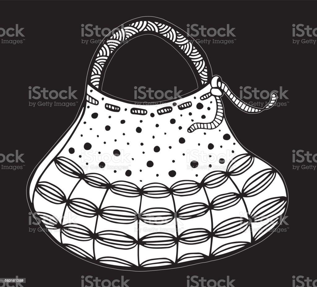 手繪的女人的手袋。嘟嘟,裝飾華麗,裝飾風格-插圖 免版稅 手繪的女人的手袋嘟嘟裝飾華麗裝飾風格插圖 向量插圖及更多 人手 圖片