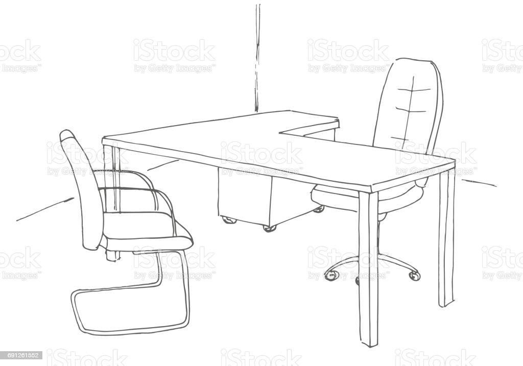 Bürostuhl gezeichnet  Hand Gezeichnet Schreibtisch Bürostuhl Vektorillustration Vektor ...