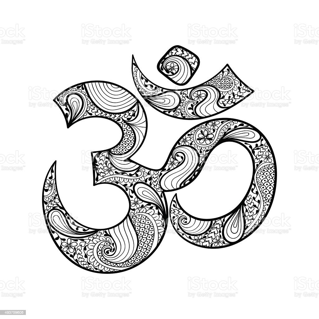 Hand Drawn Ohm Symbol Indian Diwali Spiritual Sign Om Stock Vector