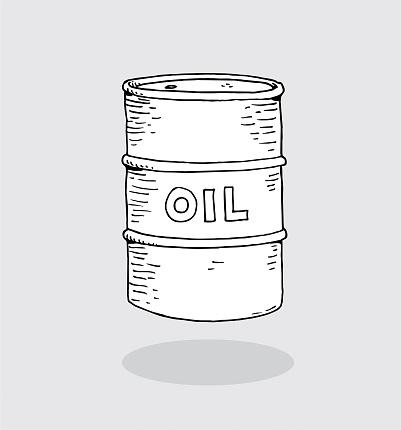 Hand drawn oil barrel