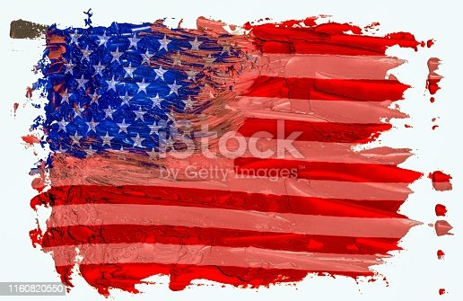 istock Hand drawn oil painting of the USA flag EPS 10 vector illustration. Oil brush strokes isolated on white background. 1160820550