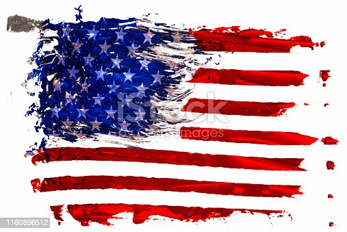 istock Hand drawn oil painting of the USA flag EPS 10 vector illustration. Oil brush strokes isolated on white background. 1160896512