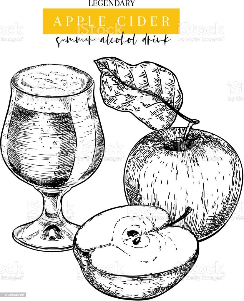 Handgezeichnete Oktoberfest Pub Plakat. Apple Cider Bier trinken. Vektor-Glasflasche und geschnittenen Äpfel, Blätter. Bar-alkoholischen Getränken. Fertige Brauerei Rabatt Banner Festival-Menü Flyer Plakat. – Vektorgrafik