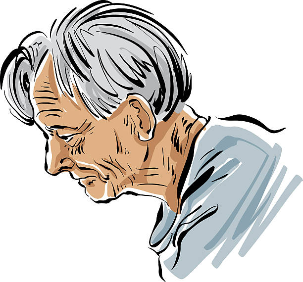 hand drawn old man illustration on white background, grey-haired - old man picture pictures stock illustrations, clip art, cartoons, & icons