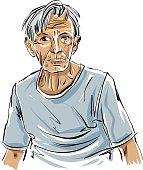 Hand drawn old man illustration on white background