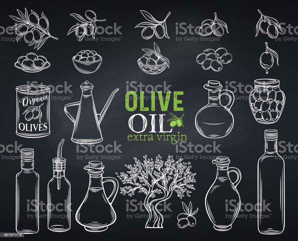 hand drawn olives Set vector hand drawn olives, tree branches, glass bottle, jug , metal dispenser and olive oil. Illustration outline in chalkboard sketch style,white on black. Agriculture stock vector