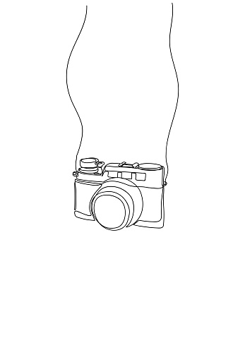 Hand drawn One line drawing of camera linear style.